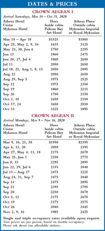 Crown Aegean Dates and Prices 2020