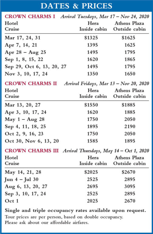Crown Charms Dates and Prices 2020