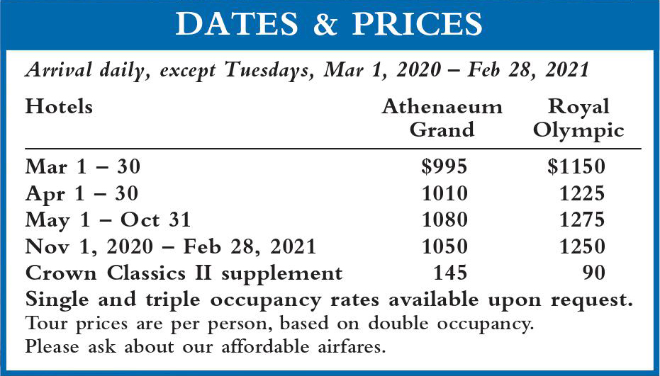 Crown Classics Dates and Prices 2020