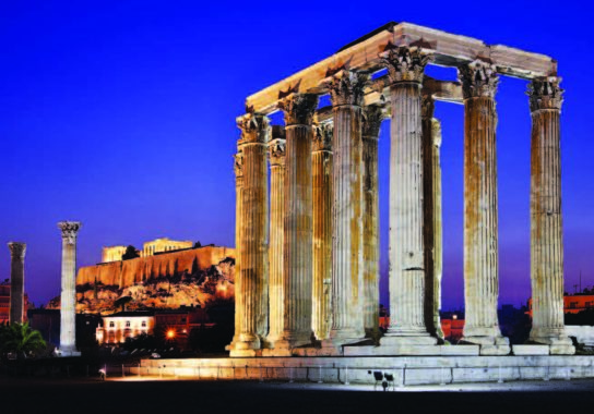 The Temple of Olympian Zeus, with Acropolis in the background