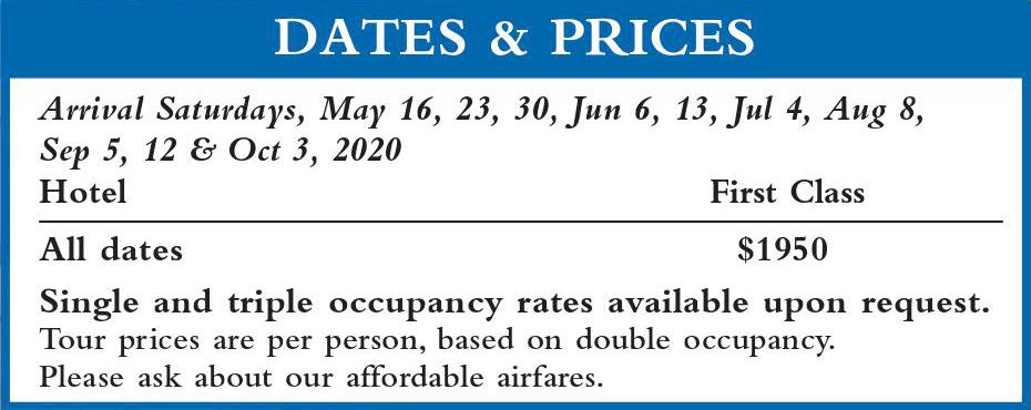Dalmatia I Dates and Prices 2020