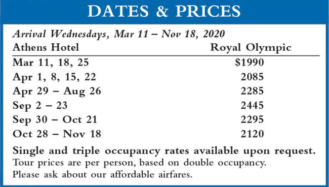 Crown Hellenic Dates and Prices 2020