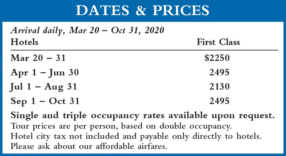 Crown Italia Dates and Prices 2020