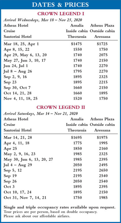 Crown Legend Dates and Prices 2020