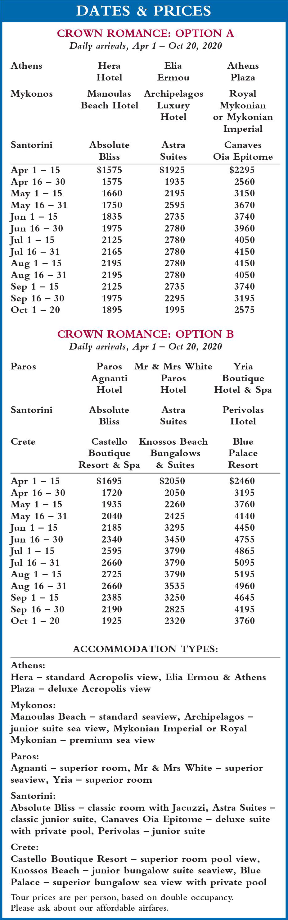 Crown Romance Dates and Prices 2020