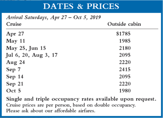 Crown Adriatic I Dates and Prices 2019