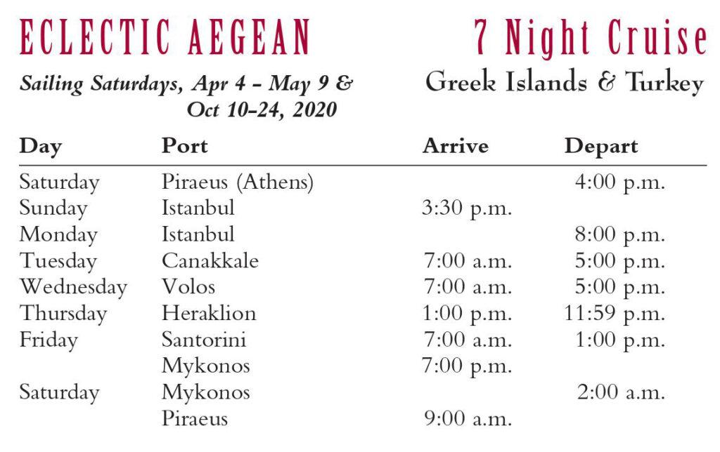 Eclectic Aegean 7 Night Cruise 2020