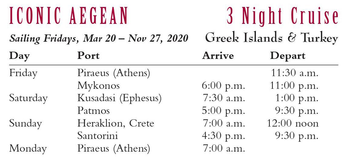 Iconic Aegean 3 night cruise 2020