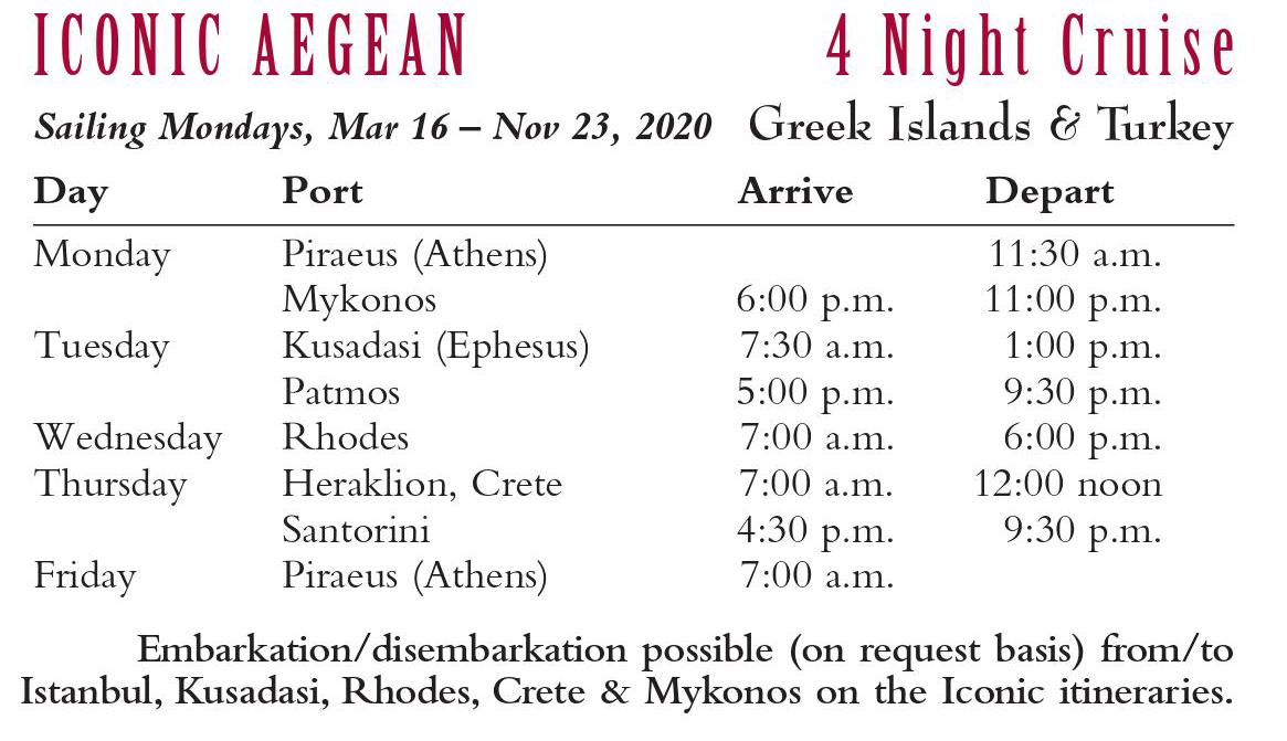 Iconic Aegean 4 night cruise 2020