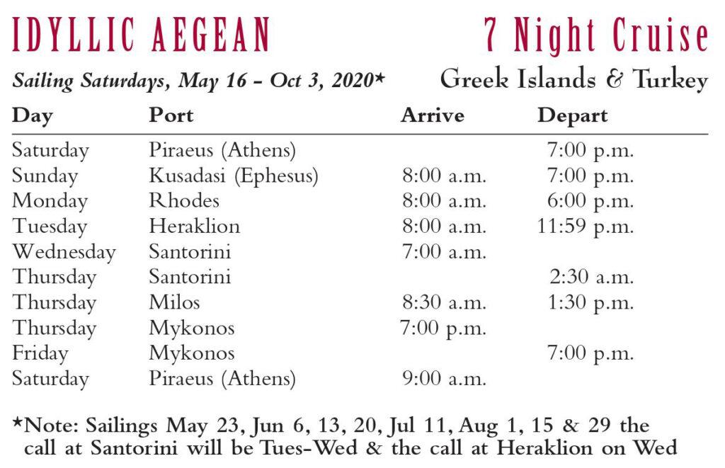 Idyllic Aegean 7 night cruise 2020